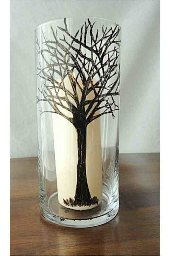 winter tree hand drawn pillar candle holder, crafts, home decor, Drawn Tree on glass