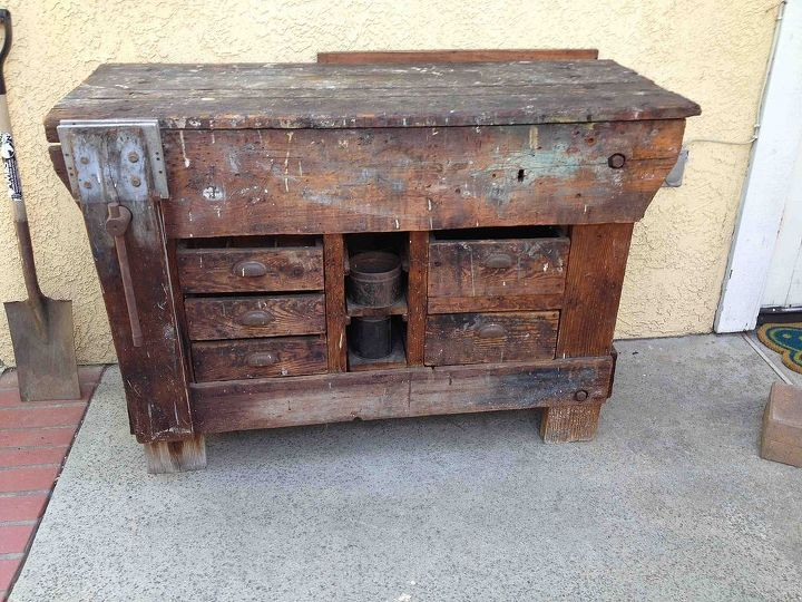 work bench turned buffet, painted furniture, repurposing upcycling, Before