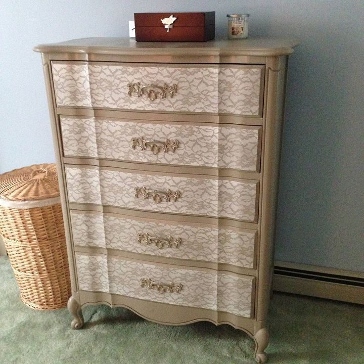 diy lace painted bedroom set, painted furniture