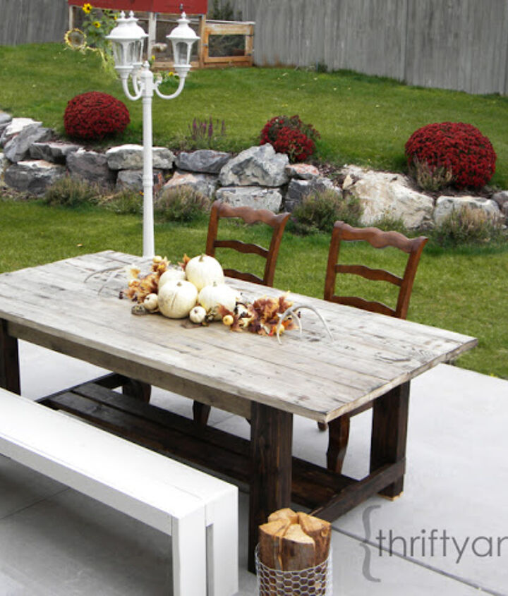 outdoor farmhouse table, outdoor furniture, outdoor living, painted furniture, patio