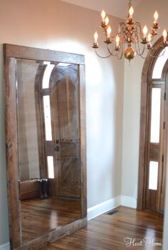 rustic entry mirror, foyer, home decor, repurposing upcycling, woodworking projects, The mirror is oversize and beautifully reflects light in our entry