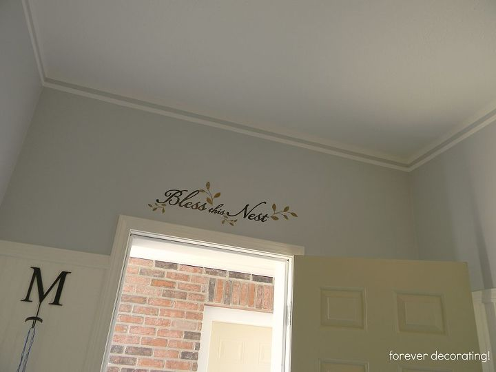 from old tool room to new mud room, foyer, garages, home decor, Bless this Nest in vinyl above the door