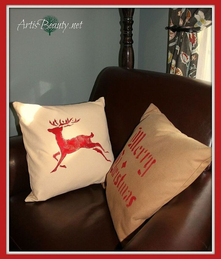 The finished Christmas Pillows, transformed with a little paint and a stencil #easyupdate