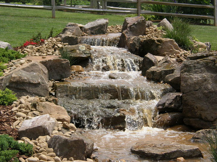 A four-tiered waterfall kicks off this pondless waterfall project.