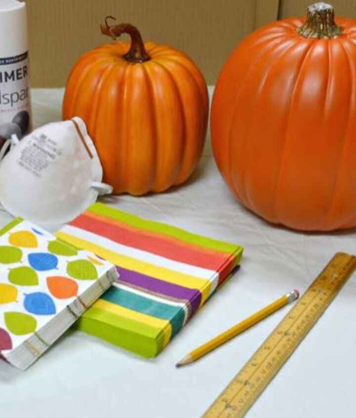 Supplies need to decoupage with pumpkins with decorative napkins
