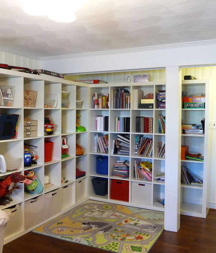 Two IKEA Expedits in the corner for storage galore!