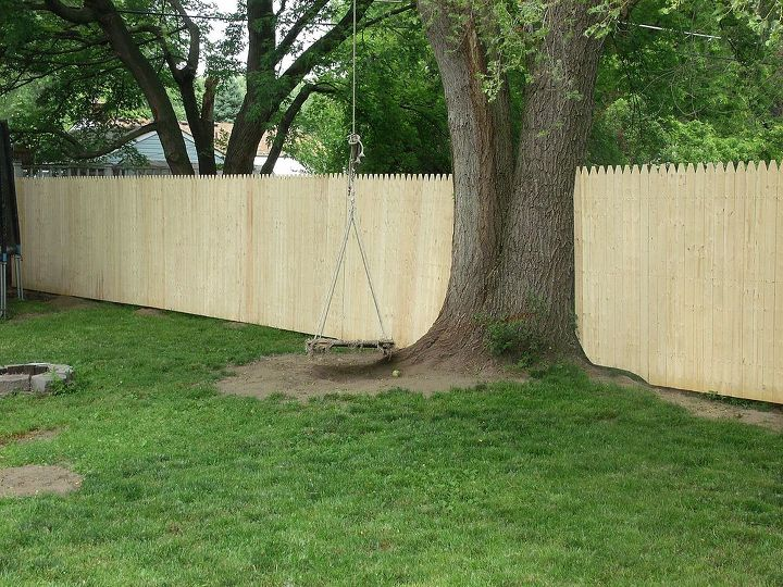 North side. Eventually there will be flower beds planted here except for around the tree where my son's sensory swing is.