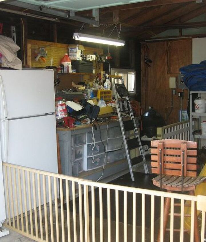 freezers and tool bench would be moved to other wall