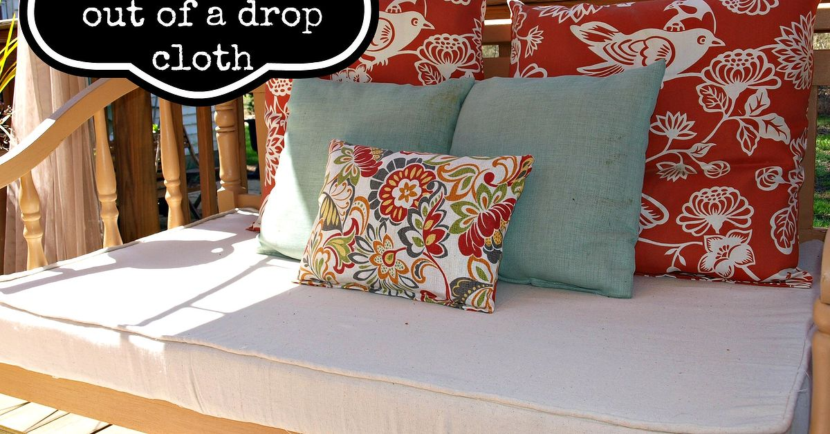 how to make an outdoor cushion cover out of a drop cloth hometalk. Black Bedroom Furniture Sets. Home Design Ideas