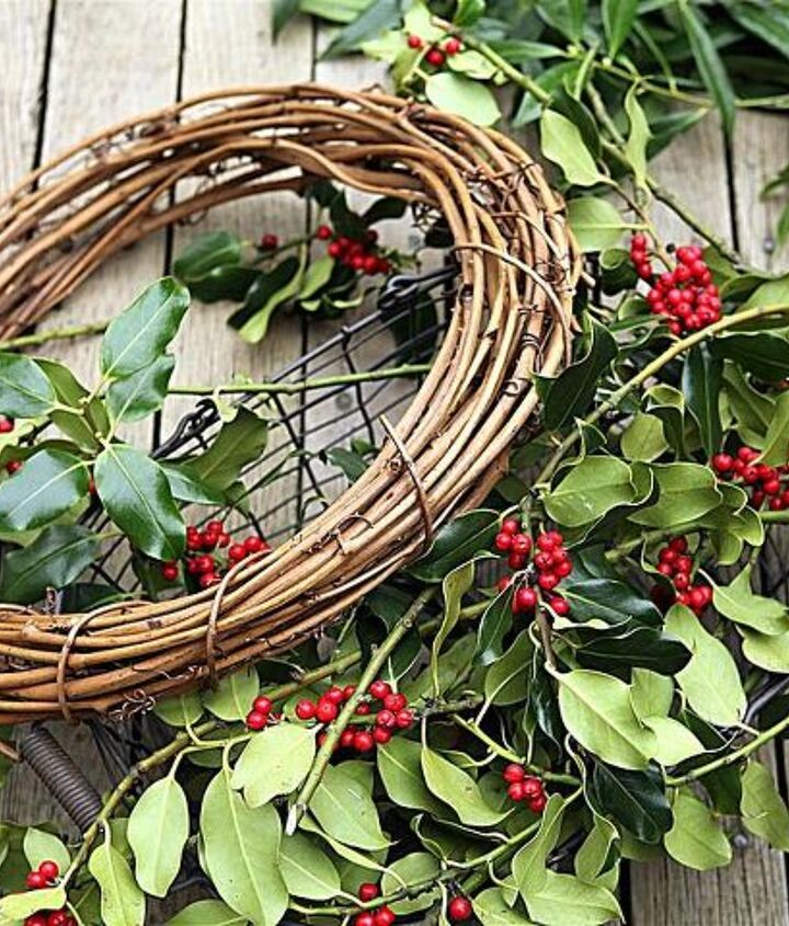 Start by gathering your materials: grapevine wreath, twine, scissors, greenery and pruners.