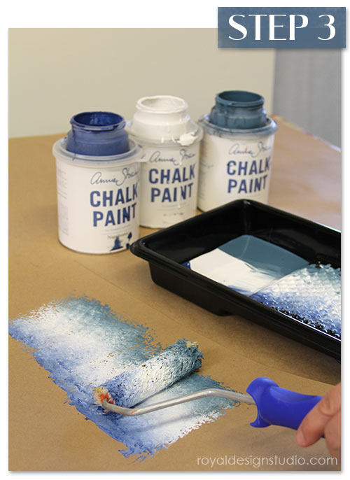 Roll a paint roller through Chalk Paint® colors and offload slightly. http://www.royaldesignstudio.com/blogs/how-to-stencil/7855395-stencil-how-to-faded-silk-suzani-fabric-finish