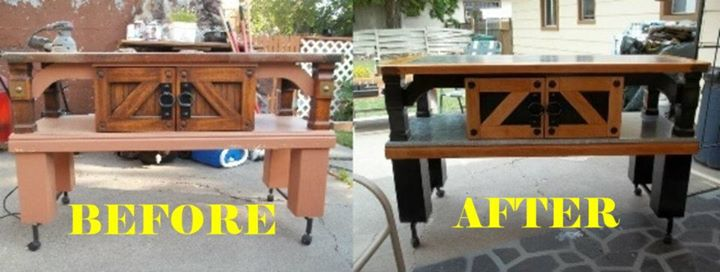 recycling an old out dated coffee table into a useful kitchen island, painted furniture