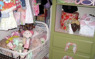 a closet transformation it s a girl pearl s closet before amp after, closet, home decor, Vintage baby cradle and Old Hankie s as drawer pulls