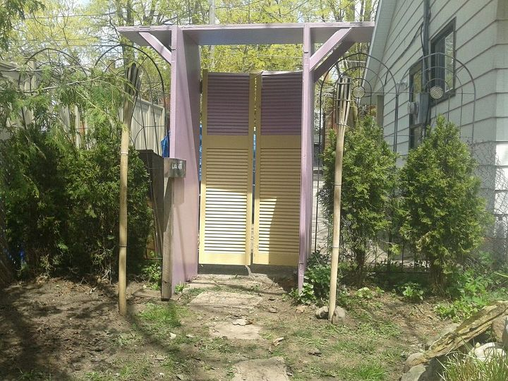 garden archway from old doors, outdoor living, repurposing upcycling