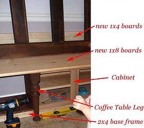 Mudroom Storage Bench made from Kitchen Cabinets | Hometalk