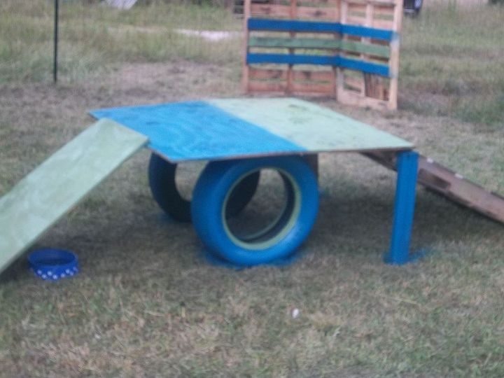 blue and green playground. I want to add some dog paw prints going up and down :)