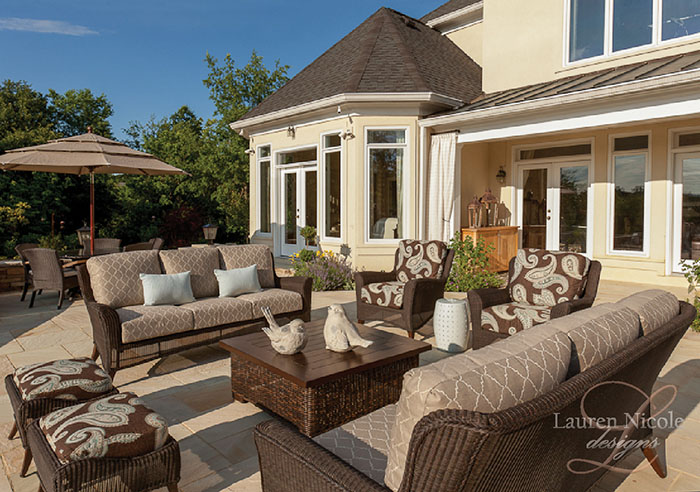 outdoor patio space, outdoor furniture, outdoor living, painted furniture, patio
