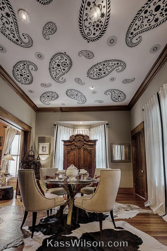 Bold pattern stenciled on ceiling.www.KassWilson.com