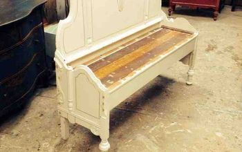 Making a bench from an old headboard and footboard