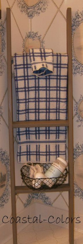 a re purposed bunk bed ladder, repurposing upcycling, I have been wanting a vintage ladder for some time but wouldn t pay 100 I was seeing This re purposed bunk bed ladder makes a great extra towel holder in a guest bath