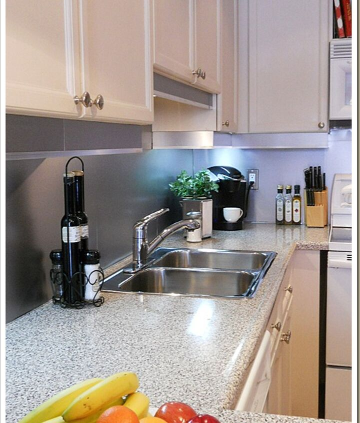 backsplash with the look of stainless steel, home decor, kitchen backsplash, kitchen design