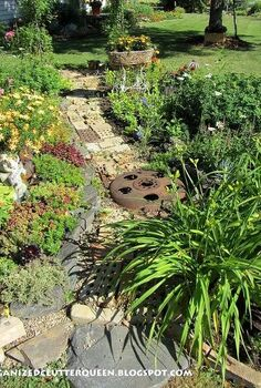 using salvaged brick in the flower border, flowers, gardening, repurposing upcycling, Here bricks form a pathway down the center of her border