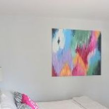 diy abstract canvas art, crafts, home decor, The final painting hanging in our new master bedroom