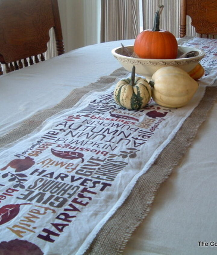 My complete table runner all ready for guests.  http://www.thecountrychiccottage.net/2011/10/subway-art-burlap-table-runner-point-of.html