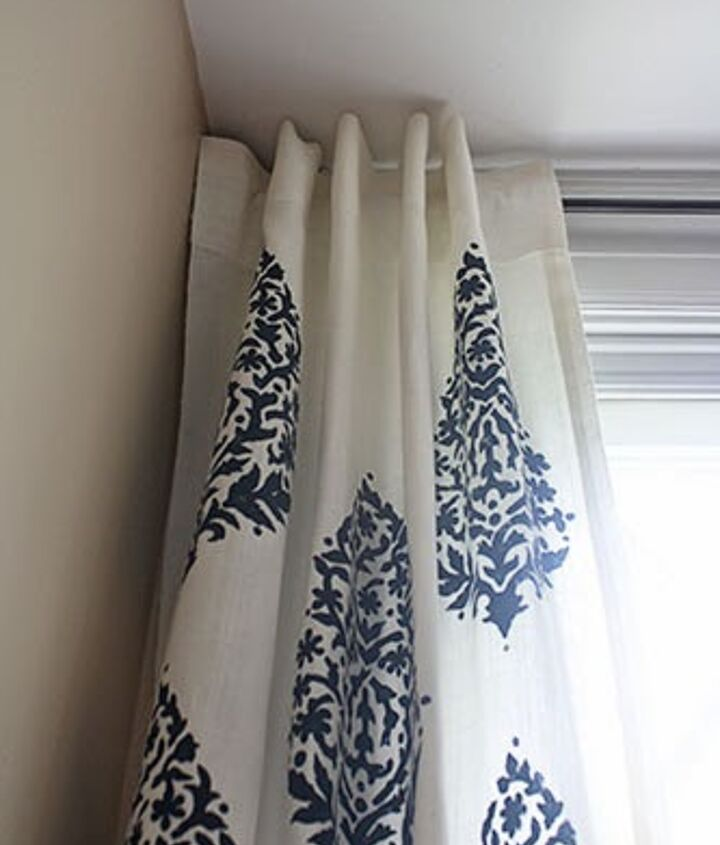 embellish your windows with stenciled curtains, home decor, painting, window treatments, windows