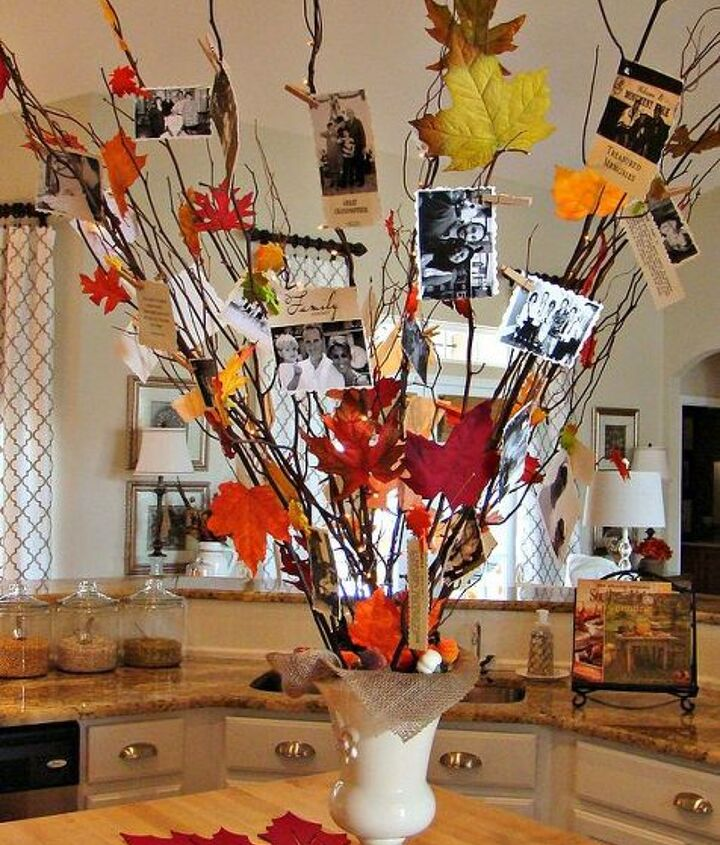Our Fall Family Tree, created from branches (some lit), family pictures and sayings, as well as leaves that I hot glued to various branches.