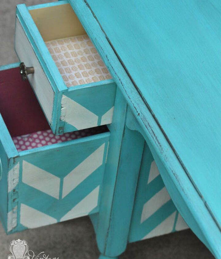 Drawers painted out in Miel and a custom berry mix.