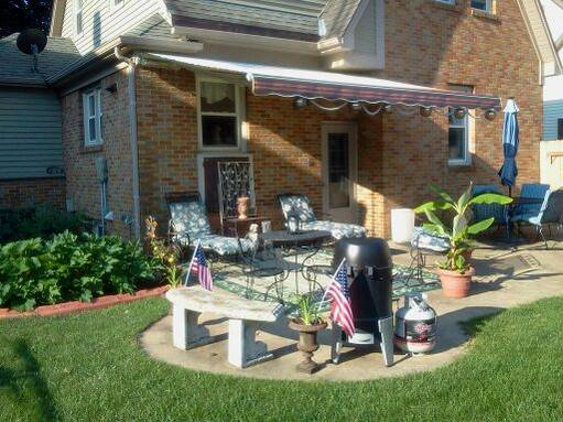 Another view of backyard with my new Sunsetter awning.