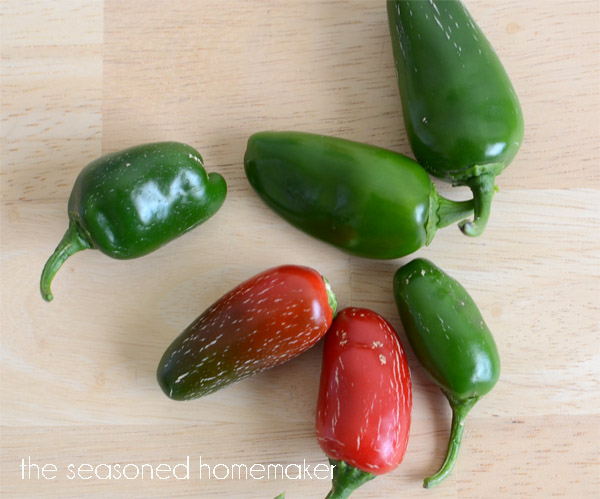 Plus two hot peppers.  I've used jalapenos, but serrano or habanero work well.