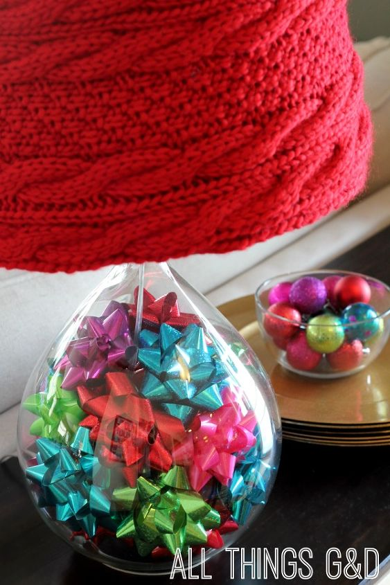 I added gift bows to the glass lamp bases for even more pops of color.