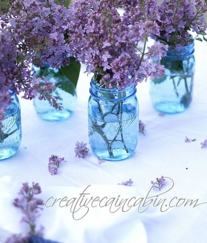 Lilac's in 100 year anniversary, ball, blue canning jars.