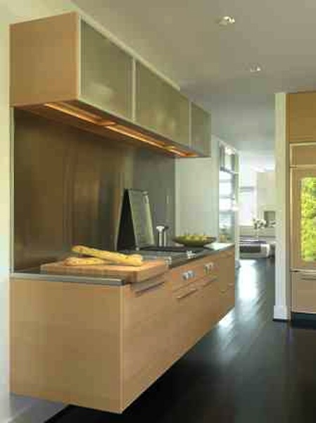 Floating cabinets in renovated Kitchen, with Dining Room beyond.