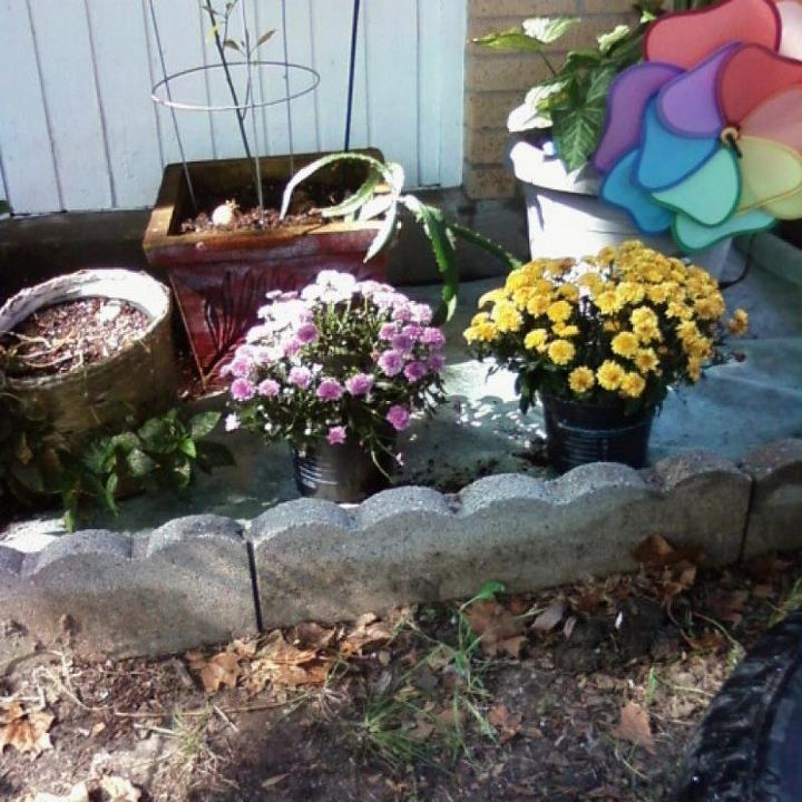 Potted plants.  The end bed to be completed later.