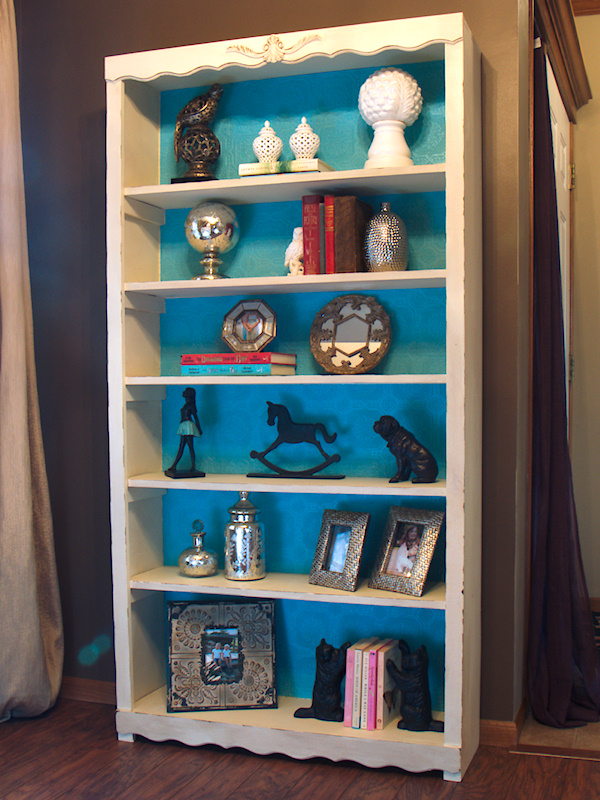 ivory chalkpainted bookshelf with wallpaper lined shelves, chalk paint, painted furniture