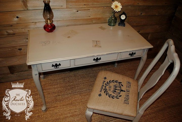 writing desk with french image transfers, painted furniture, rustic furniture