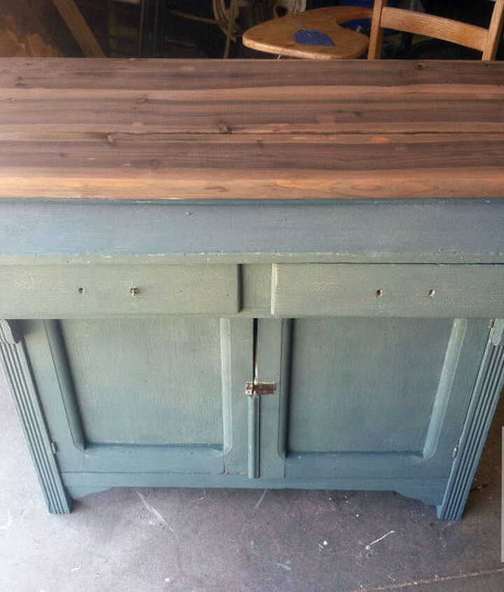 old hutch bottom makeover, painted furniture