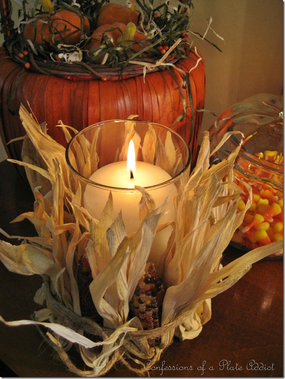 easy and inexpensive pottery barn inspired indian corn candle, crafts, seasonal holiday decor, Love the look of these easy fall decorations