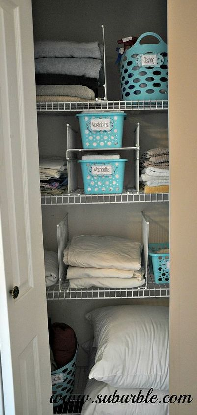 this hack will keep your linen closet organized for good, closet, shelving ideas, Slide in your baskets linens towels etc into their designated homes Appreciate that they can t canoodle with the pile next door Everything has a place and with these dividers they will stay there