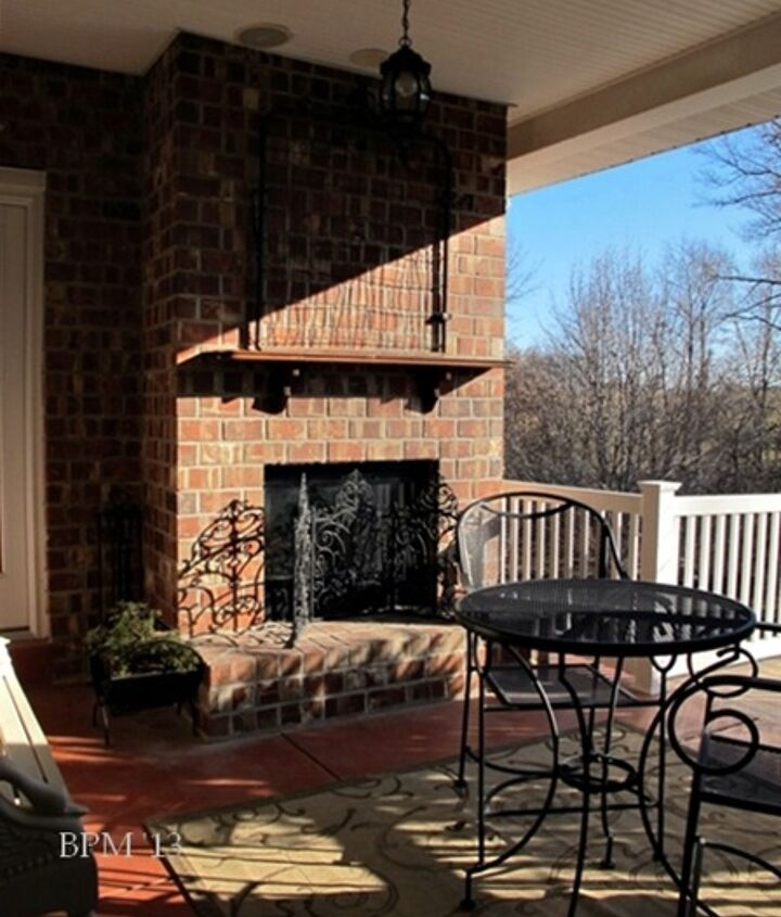 Before: When our home was built in 2003, the back porch and fireplace were added as an afterthought. Until this winter, the only ornamentation was the vintage garden gate. We added the shelf for Christmas, temporarily.