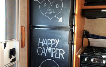 paint your ugly rv fridge with chalkboard paint, appliances, chalkboard paint, painting, Our fun new chalkboard fridge We are now Happy Campers