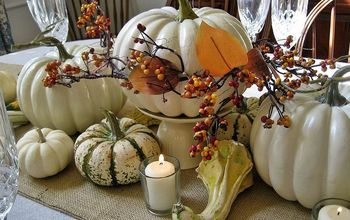 Thanksgiving Tablescape...Burlap and White Pumpkins