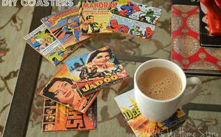 diy comic book cork coasters, crafts, decoupage, home decor, repurposing upcycling