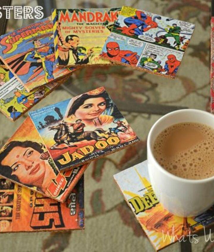 diy comic book cork coasters, crafts, decoupage, home decor, repurposing upcycling