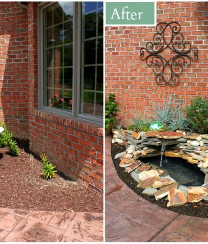 diy backyard pond amp landscape water feature, landscape, outdoor living, patio, ponds water features, You can see in the before photo the small area that needed attention was surrounded by a walkway and patio