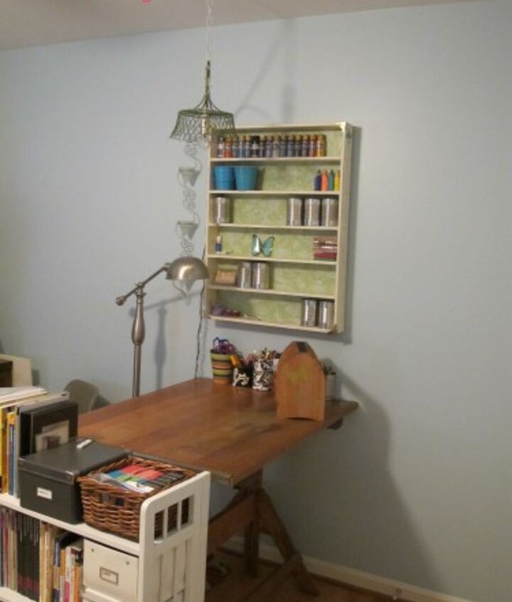 AFTER: I love how my DIY pendant lamp hangs over my $30 vintage drafting table that I got from the thrift store.