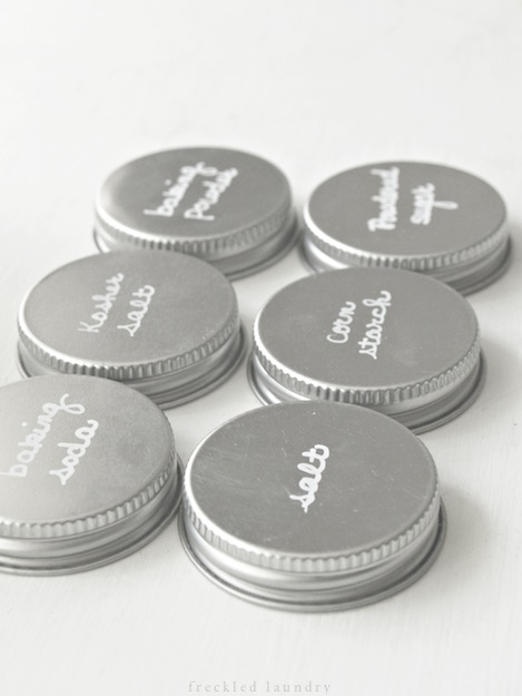 Use a paint marker to label the lids.